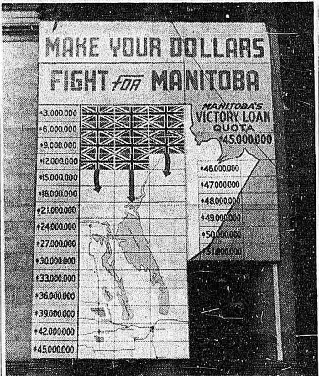 """WWII: Victory Bond Map to """"free"""" Manitoba from the Nazis"""