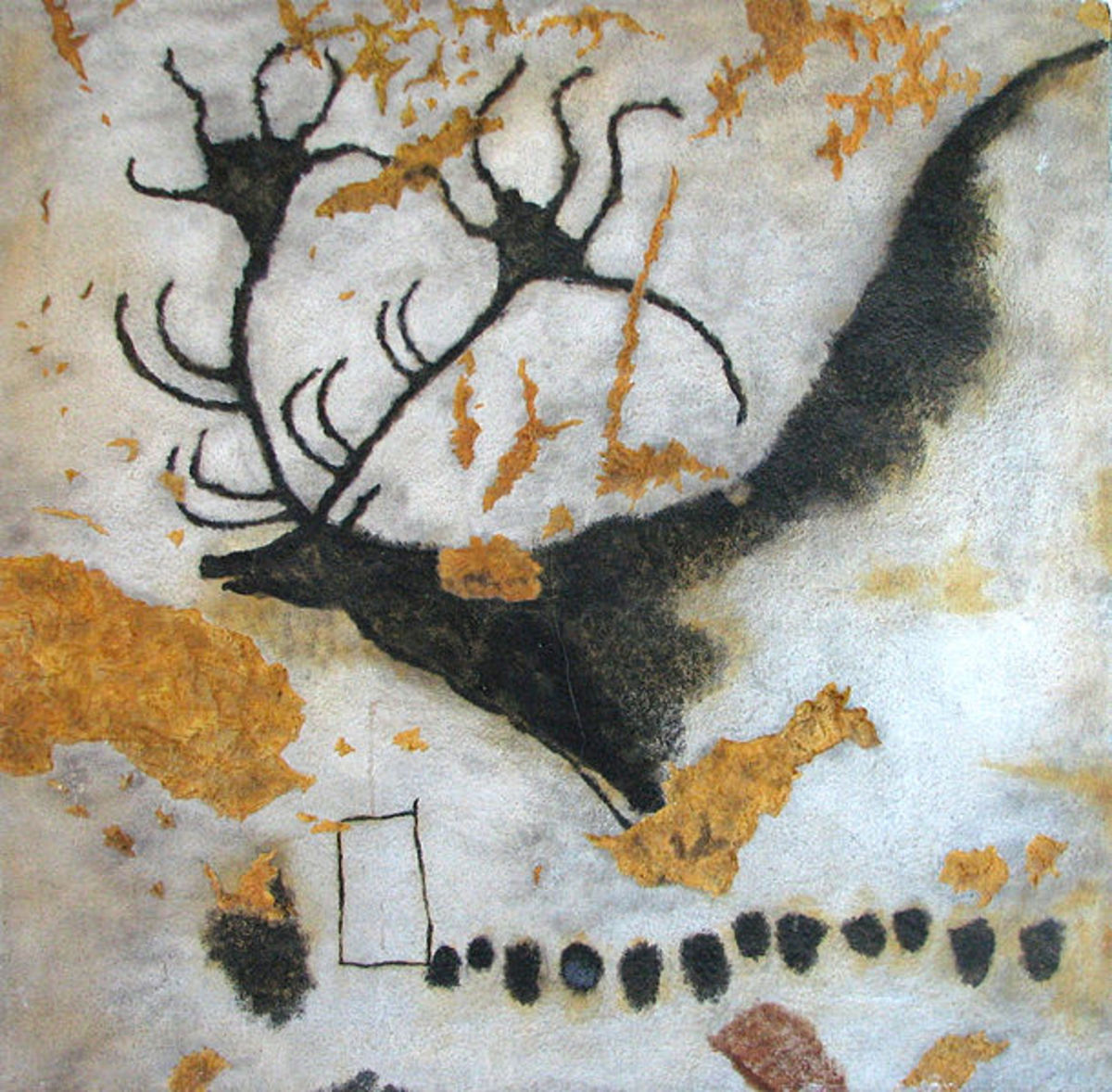 The giant deer as depicted by cro-magnon man in the caves of Lascaux.