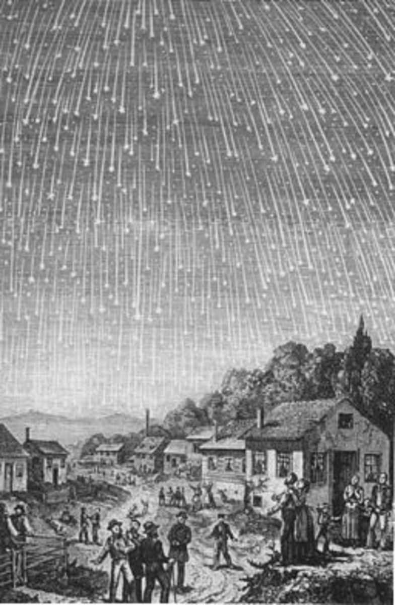 One of the most famous images of the Leonids meteor shower.  This public domain engraving was completed in 1889.