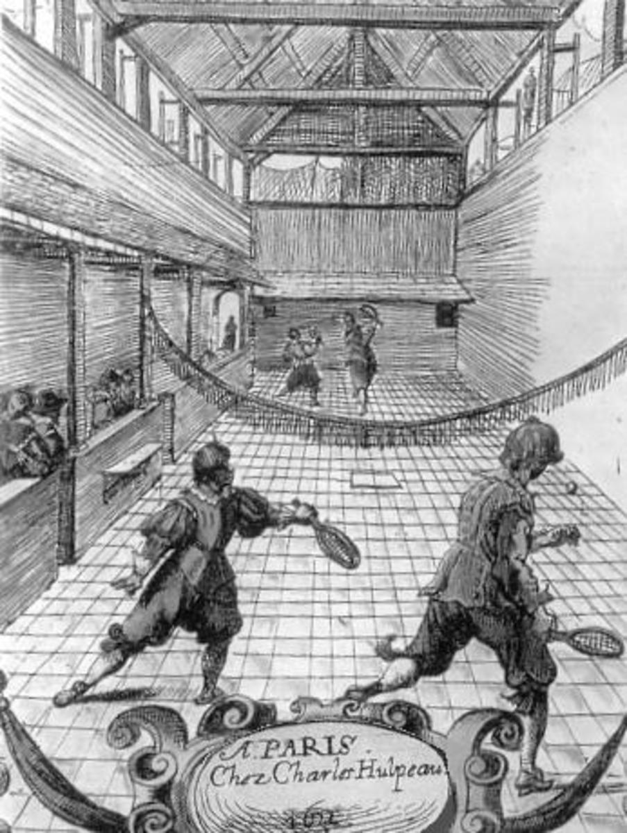 Jeu de paume as it developed into real tennis using an indoor court and rackets.