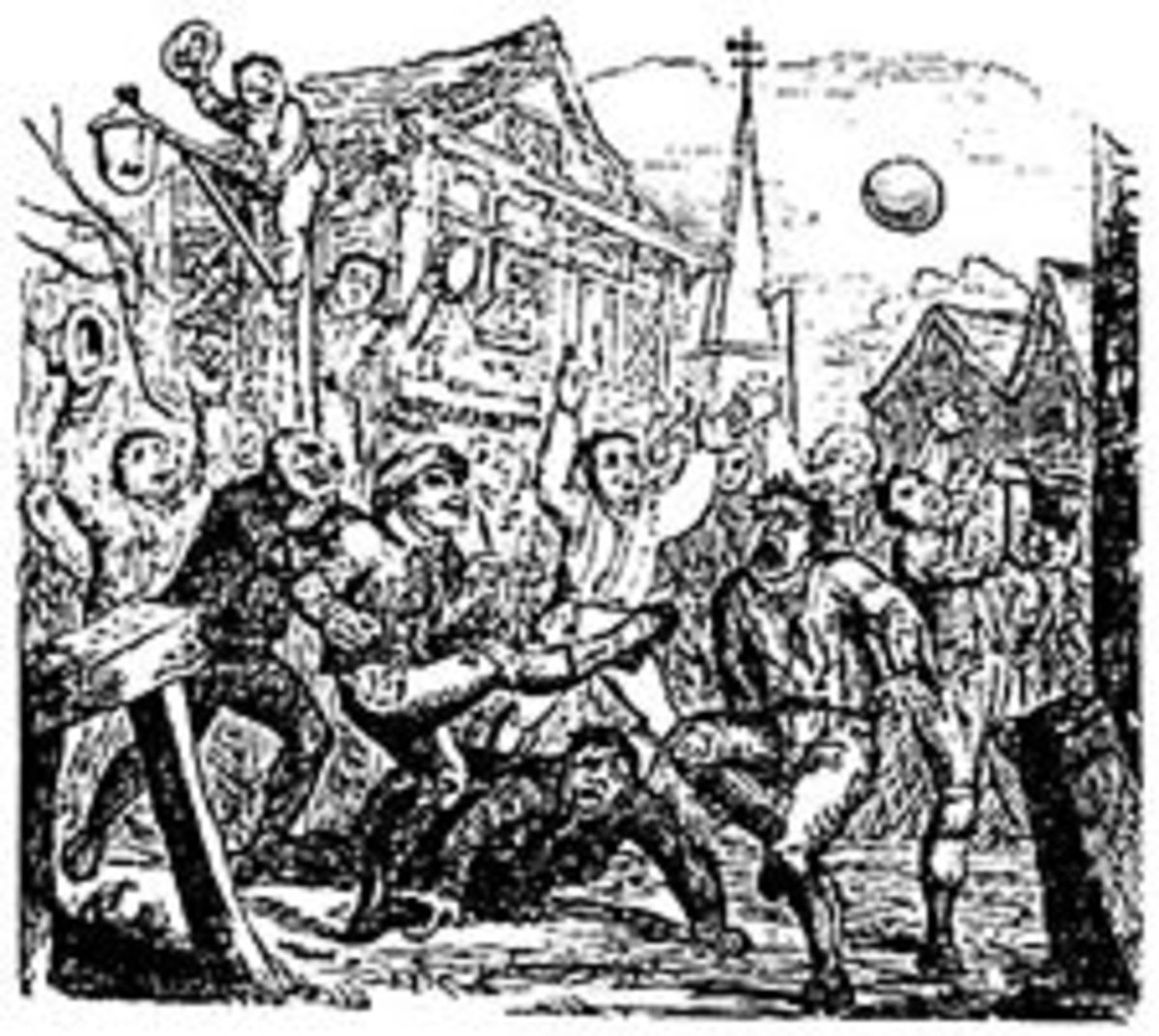 An engraving showing a game of mob football.