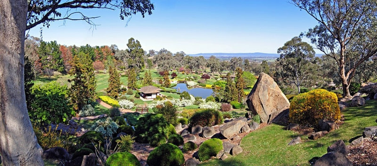 Panoramic view from the Symbolic Mountain Lookout at the Japanese Gardens, Cowra, NSW, Australia, 22 September, 2006.