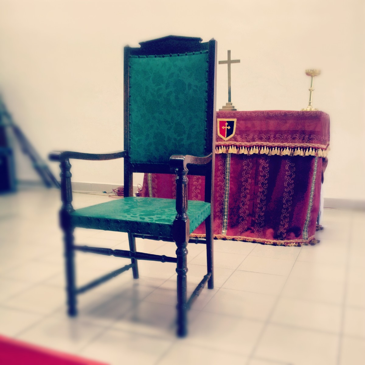 The Bishop's Chair in the Parish of St. Columba's. The Cathedra, or throne, is located in St. Thomas' Cathedral.