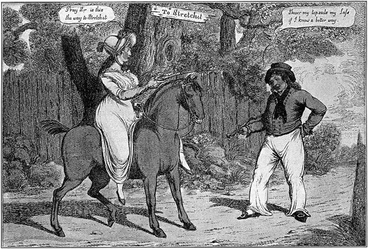 "This cartoon implies that riding astride is undignified and with ""stretch"" a lady's private parts."