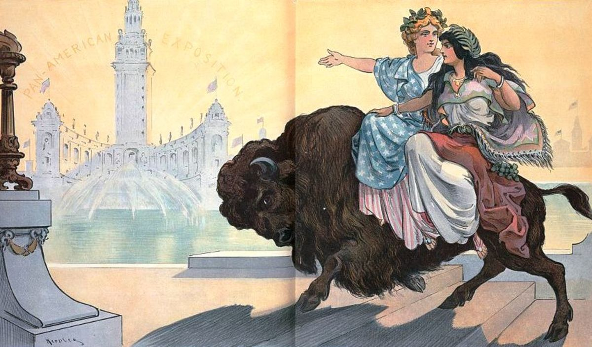 Even mythical women, such as these representing North and South America were meant to ride to the side.  Which must be quite difficult, bareback on a Bison (from  Puck, 1901)