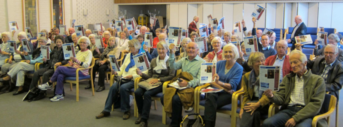 Senior citizens at a lecture about Wikipedia, Norway.