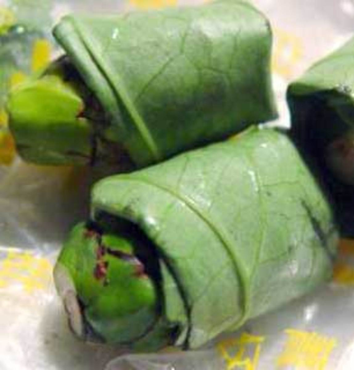 Prepared Betel nut in a Chinese market. Dried Areca palm fruit is wrapped in betel leaf.