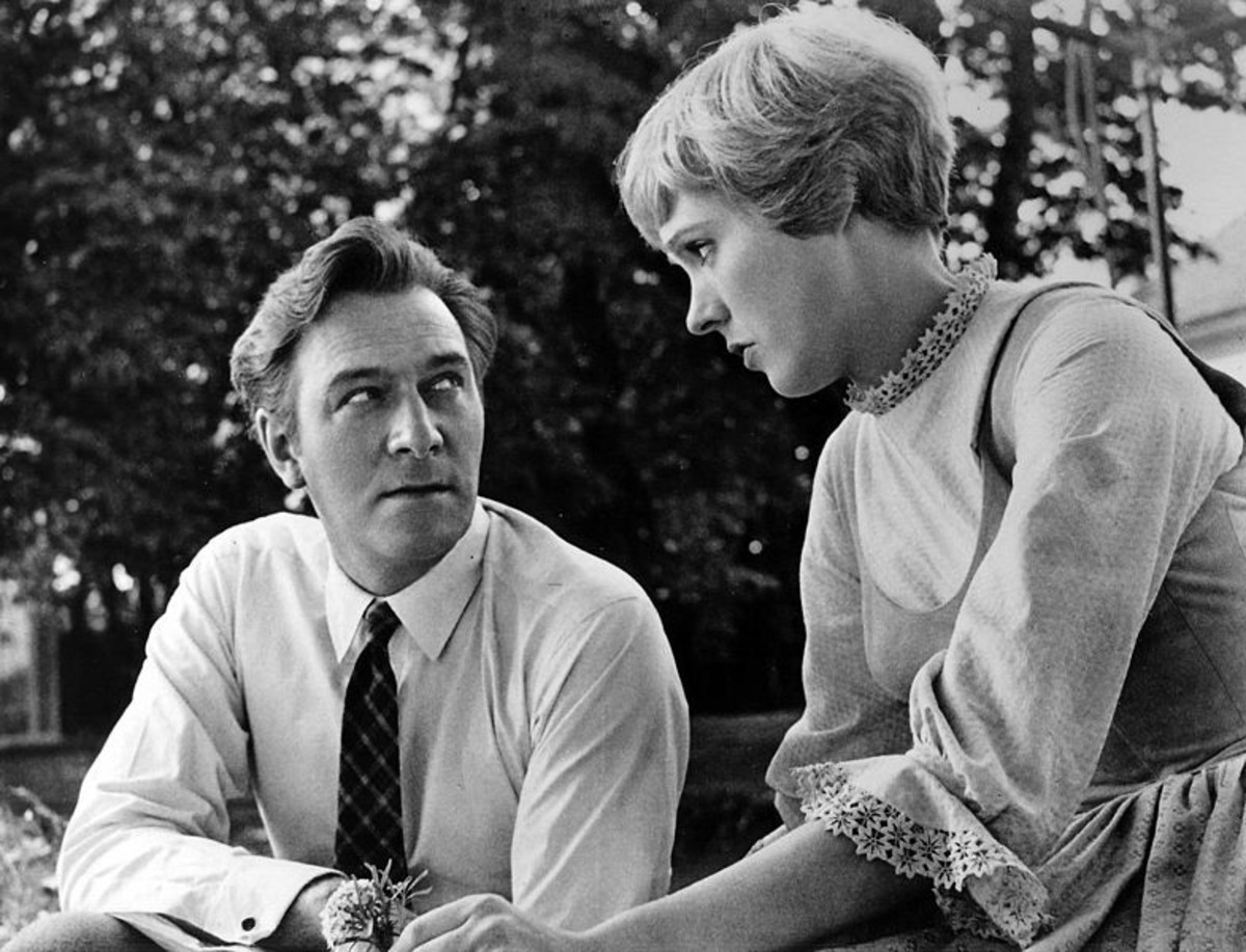 "Christopher Plummer (Captain von Trapp) and Julie Andrews (Maria) during filming of ""The Sound of Music"" in 1964"