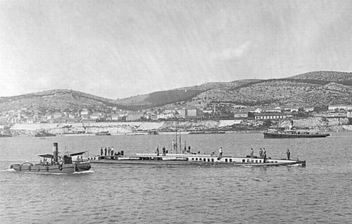 World War One: SM U-14 (Austria-Hungary) as depicted on a World War I postcard. This particular postcard was from U-14's commander, Georg  von Trapp, to his son and was postmarked on 23 February 1917
