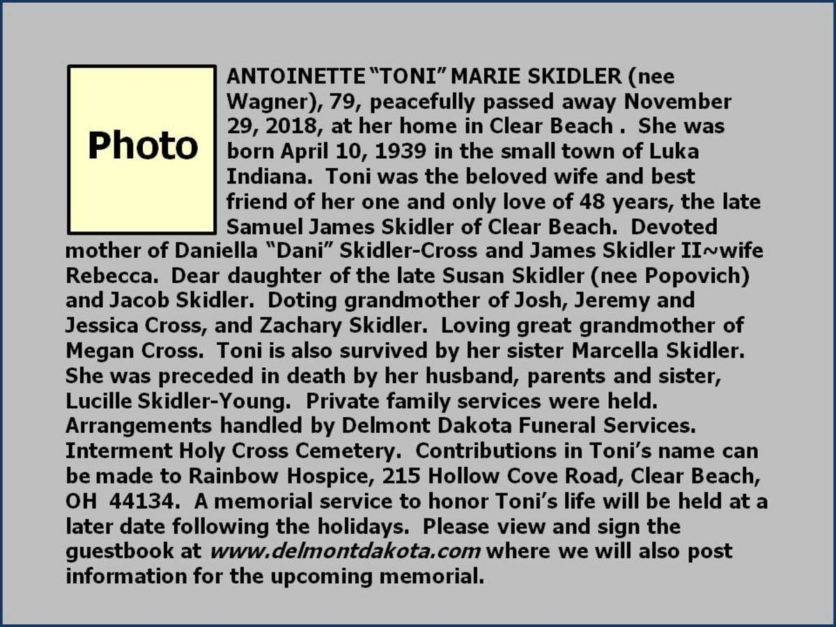 Note:  This is not a real obituary.  It is a mock-up created by Sharyn's Slant.