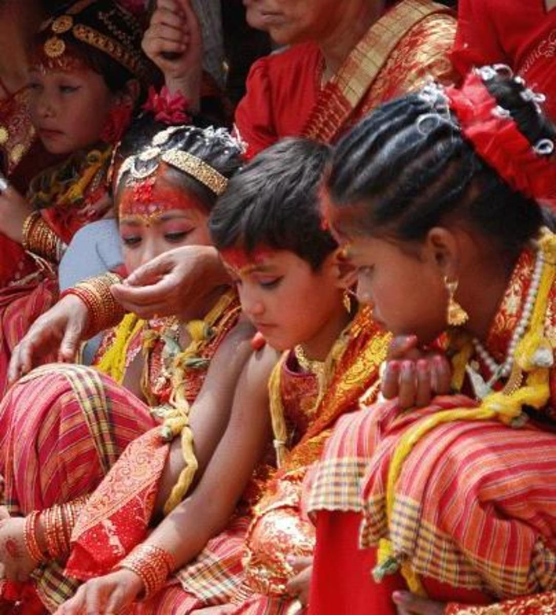 Young Nepali girls performing fertility rituals