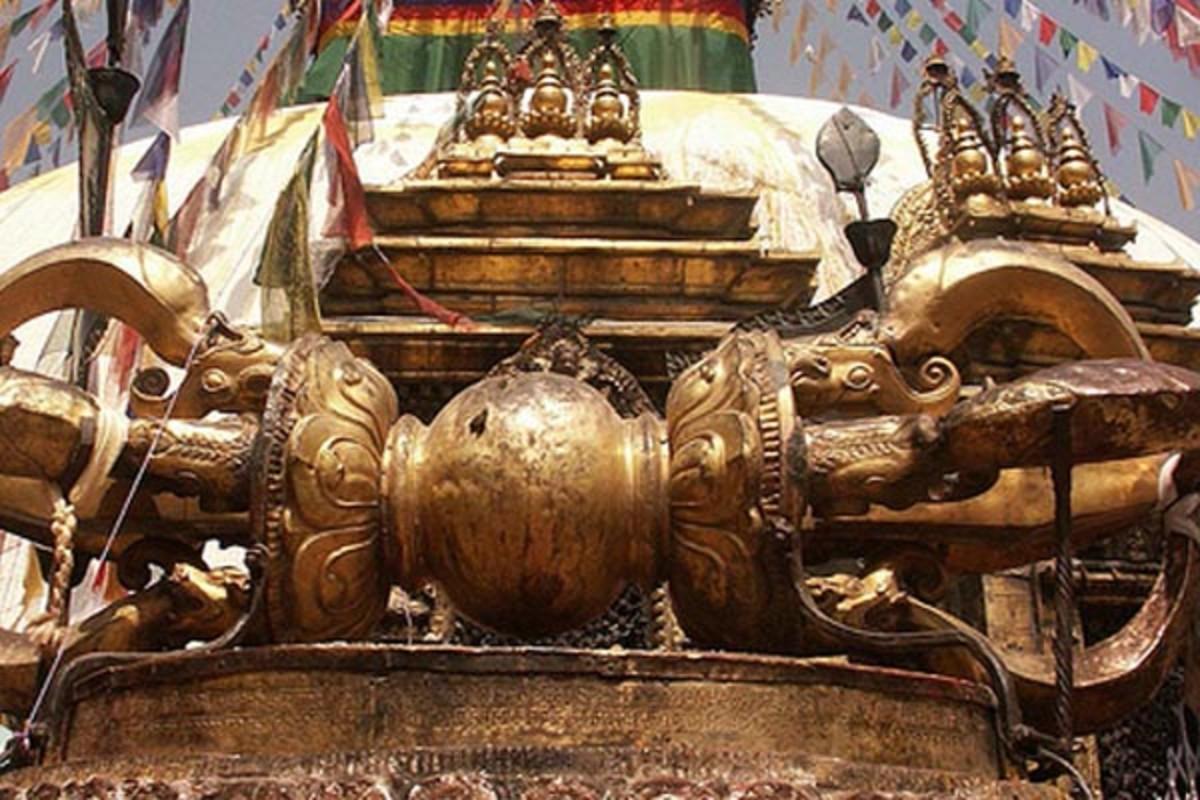 Vajra, the thunderbolt, in Swyambhu Monastery in Kathmandu.