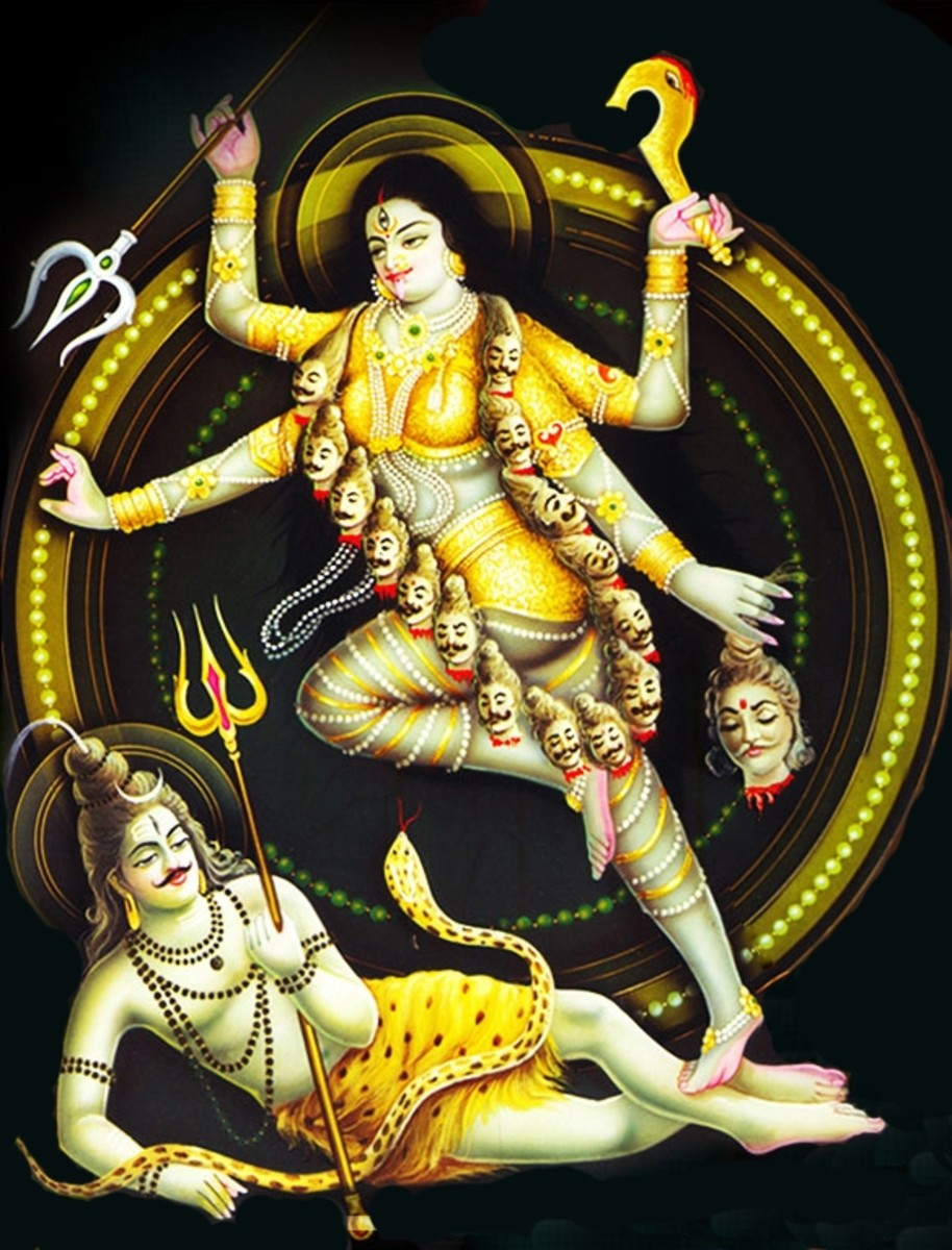Shiva and Kali, by an unknown artist, photographed and reworked by Vinaya