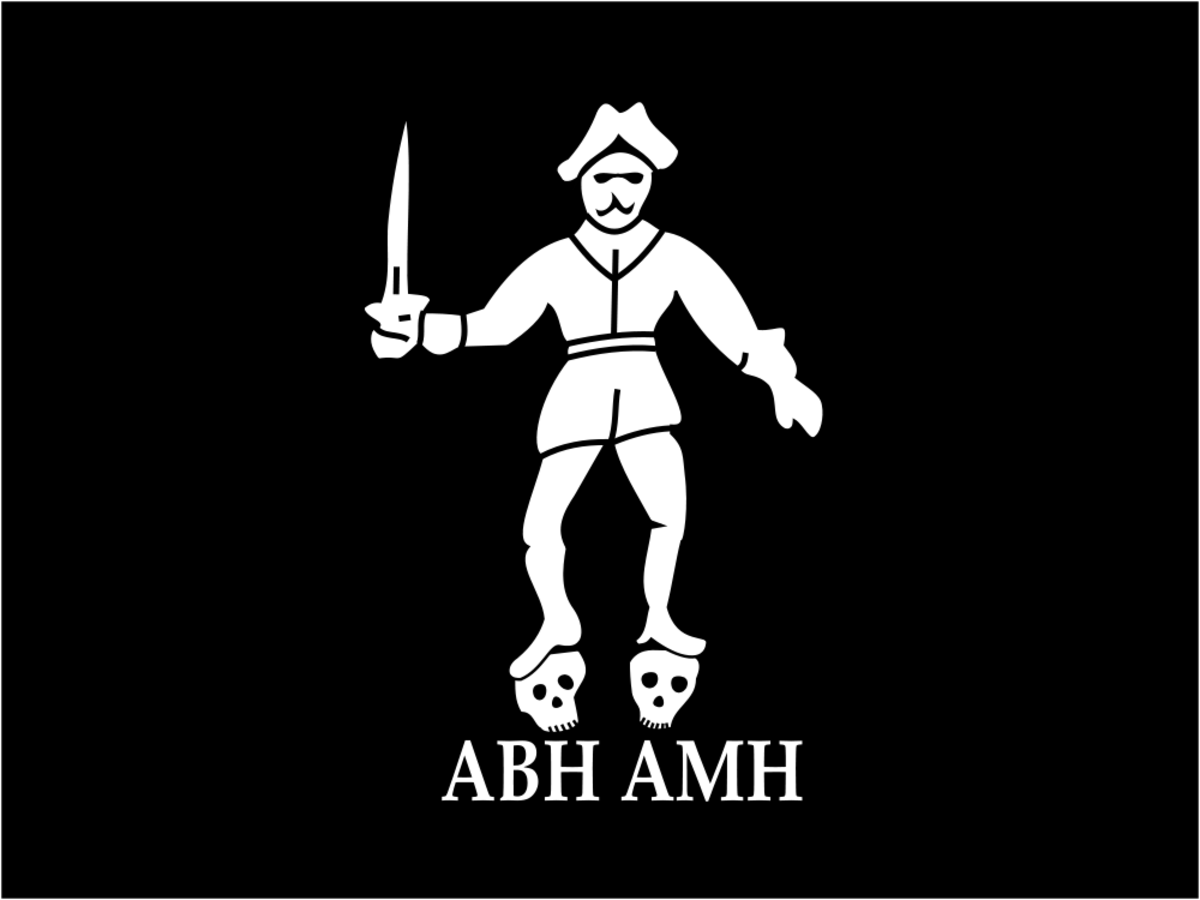 Flag of pirate Bartholomew Roberts (Black Bart).  The figure represents Roberts. ABH stands for 'A Barbadian Head' while AMH stands for 'A Martinico's Head'.