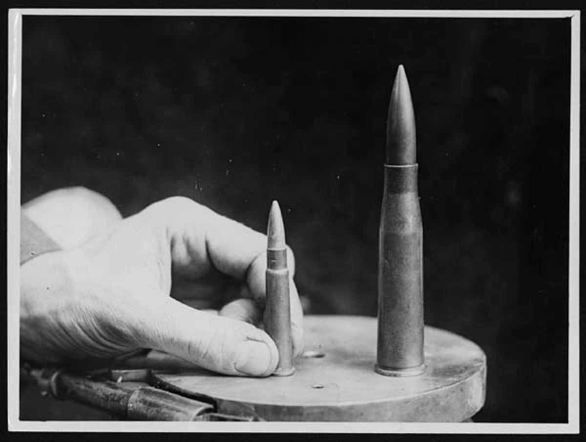 WWI: British rifle bullet compared to bullet for T-Gewehr anti-tank rifle.