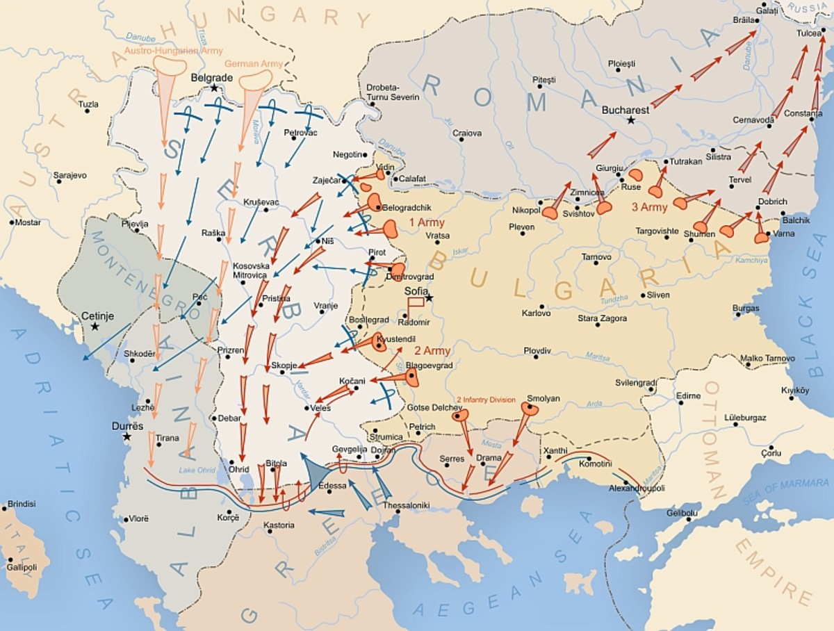 World War I: The Balkan Front (AKA Macedonian Front or Salonika Front). The brown and blue lines through Albania, Greece and Bulgaria show the stabilized front. Germans, Austro-Hungarians, Bulgarians to the north; Serbs, British, French to the south.