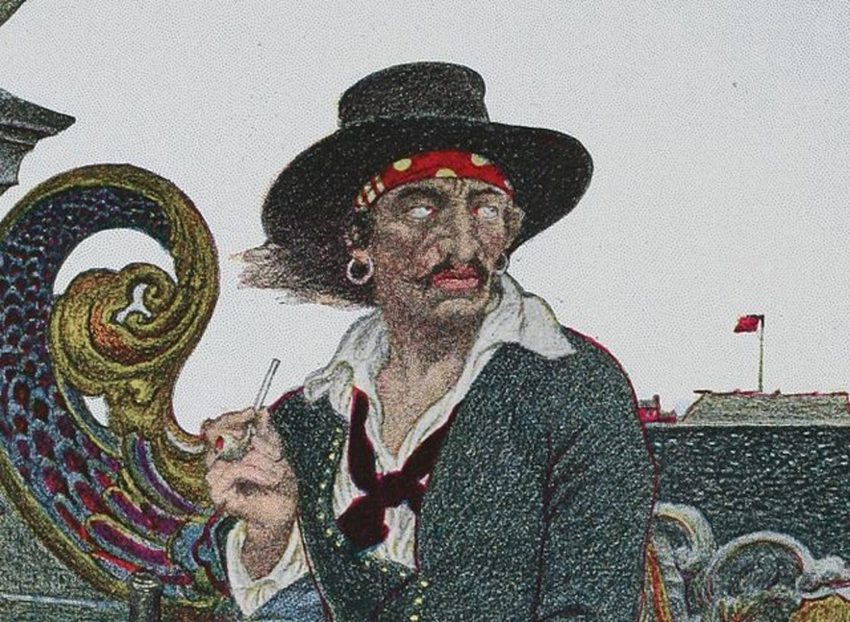 Captain Kidd, originally an English privateer, was later hung in England for piracy.