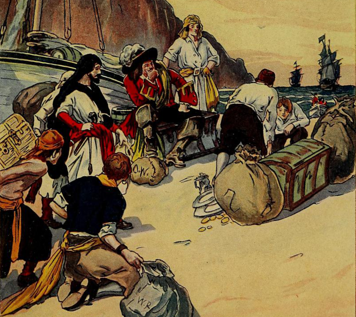 Henry Morgan, a buccaneer who was not a pirate, but a privateer in the employ of England, divides plundered treasure among his crew.
