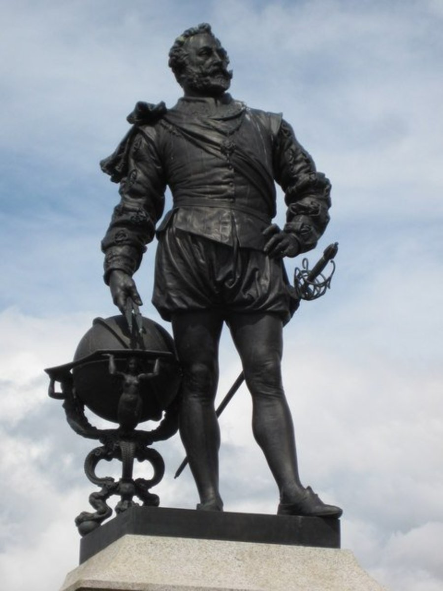 Statue of Sir Francis Drake, near Plymouth, England. Drake, a hero in England, was considered a pirate by the Spanish.