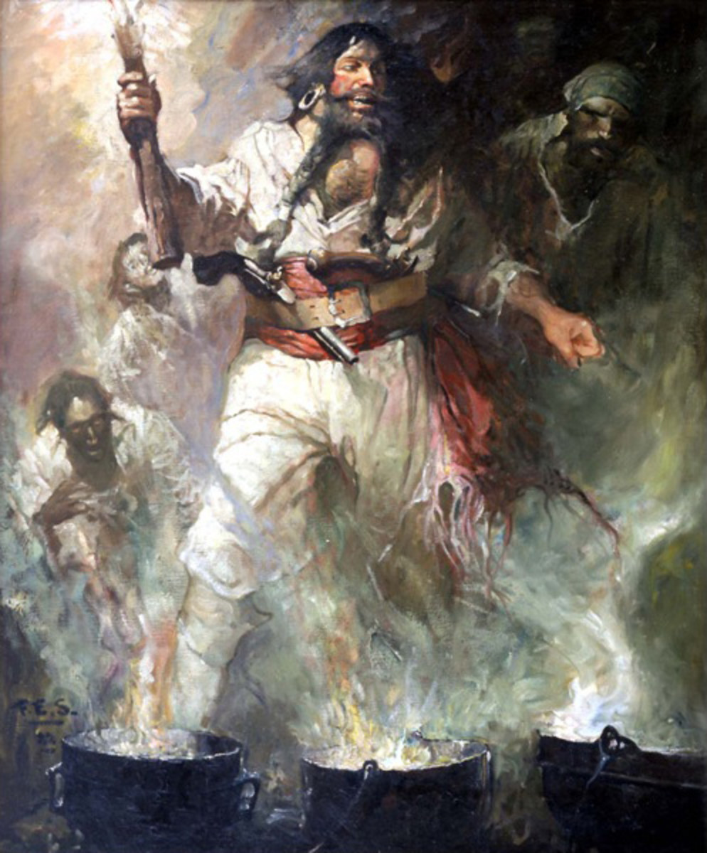 If Blackbeard raided your ship, this was  a site you would never forget. He made sure to put on quite the fearsome show to prevent merchant ships from fighting back.