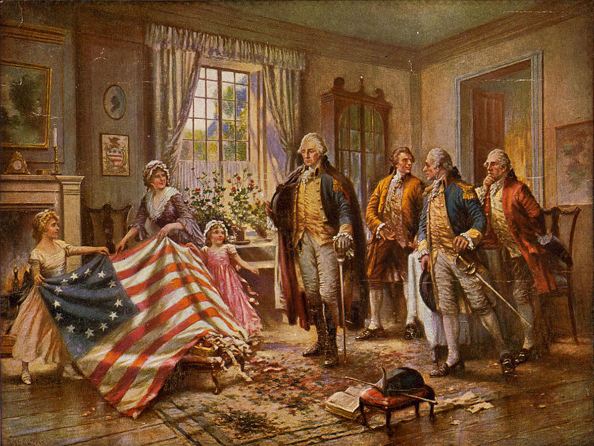 The Birth of Old Glory Painting - Betsy Ross Flag