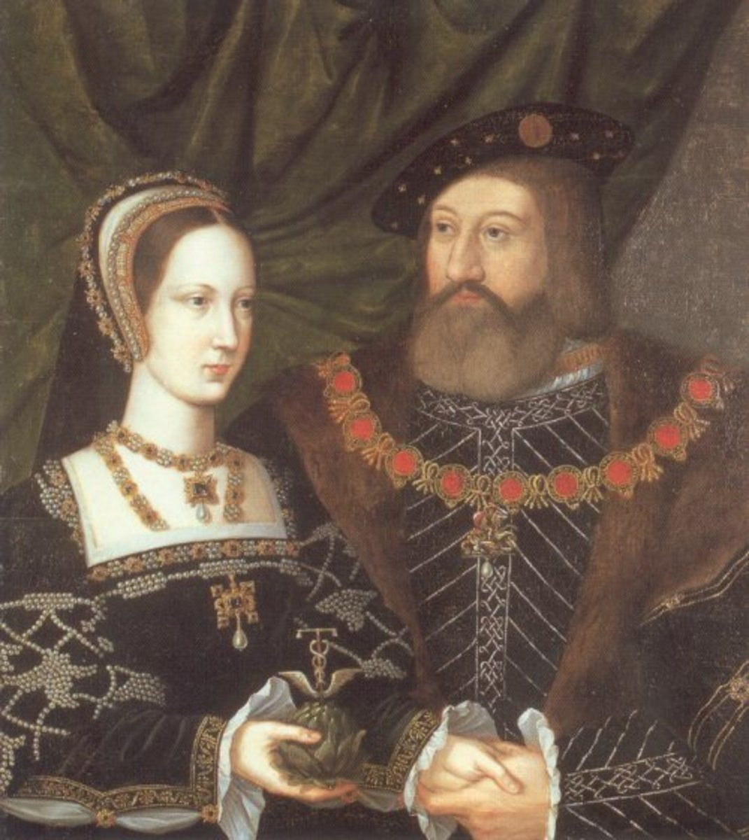 Mary Tudor and her second husband, Charles Brandon, Duke of Suffolk.  After her death he married their son's fiancee.