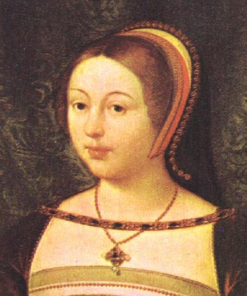 Margaret Tudor, Queen of Scots.  Her great-grandson inherited the throne of England from her niece, Elizabeth I.