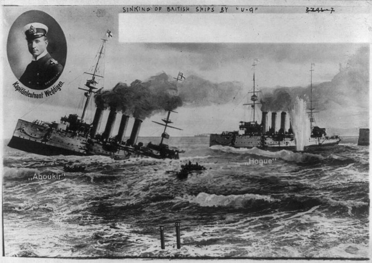 WW1: German postcard depicting U-Boat U-9 (commanded by Capt. Lt. Weddigen) sinking British cruisers. December 4, 1914.