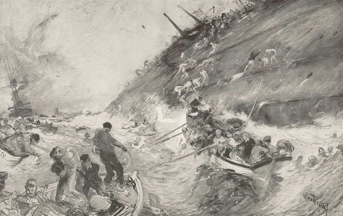 WWI: Sketch by Henry Reuterdahl of HMS Cressy sinking. 1916.