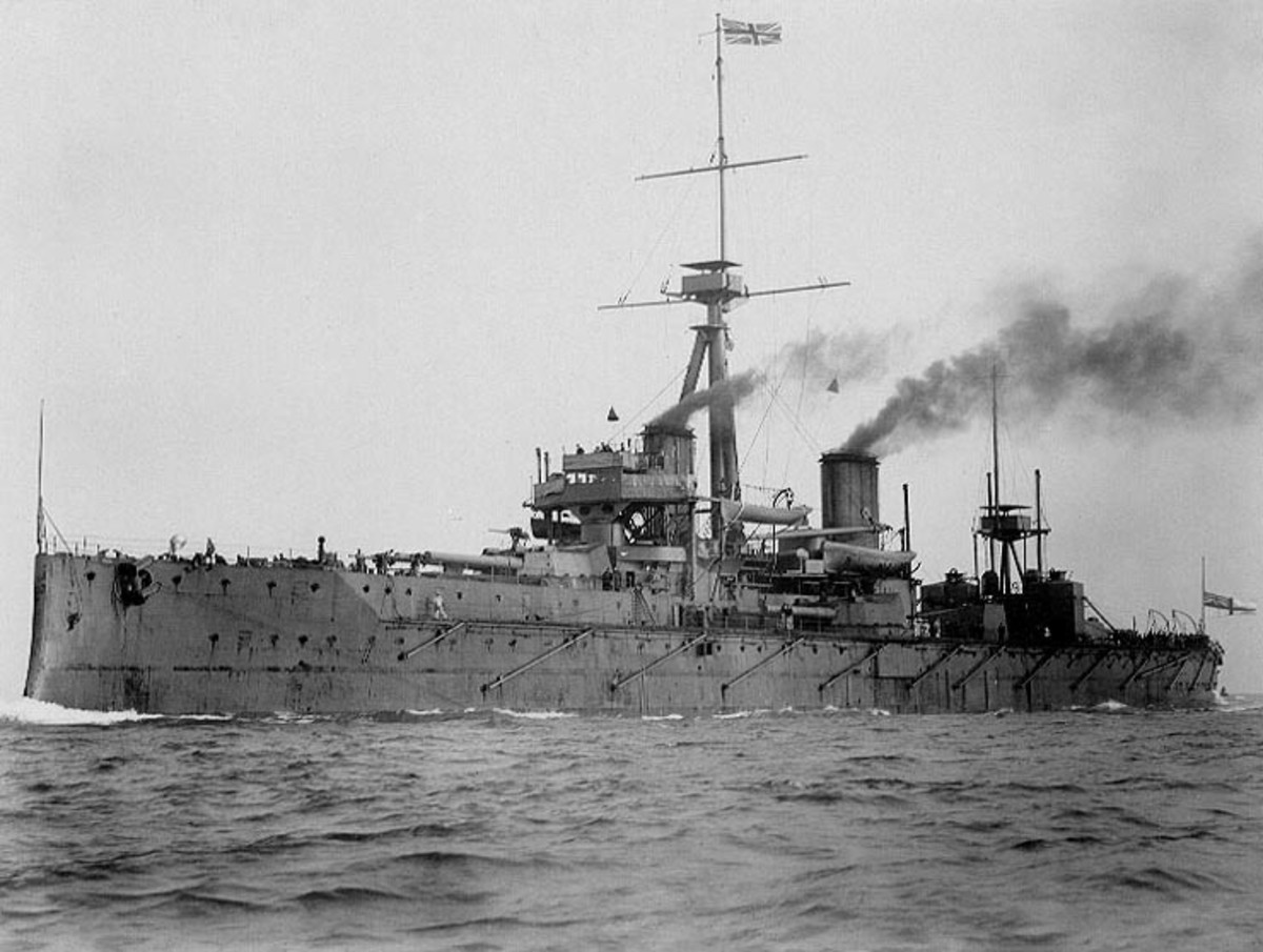 WWI: HMS Dreadnought, 1907. The ship that launched the naval arms race whose only action was ramming and sinking U-29 in 1915, killing the KapitanLeutnant who, while commanding U-9, sank three British armored cruisers in one hour on Sept 22 1914.