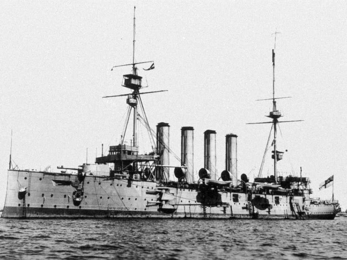 WWI: Armoured cruiser HMS Cressy, sunk on 22 September 1914, along with her sister ships Aboukir and Hogue (same class as Cressy), by German U-boat U-9.