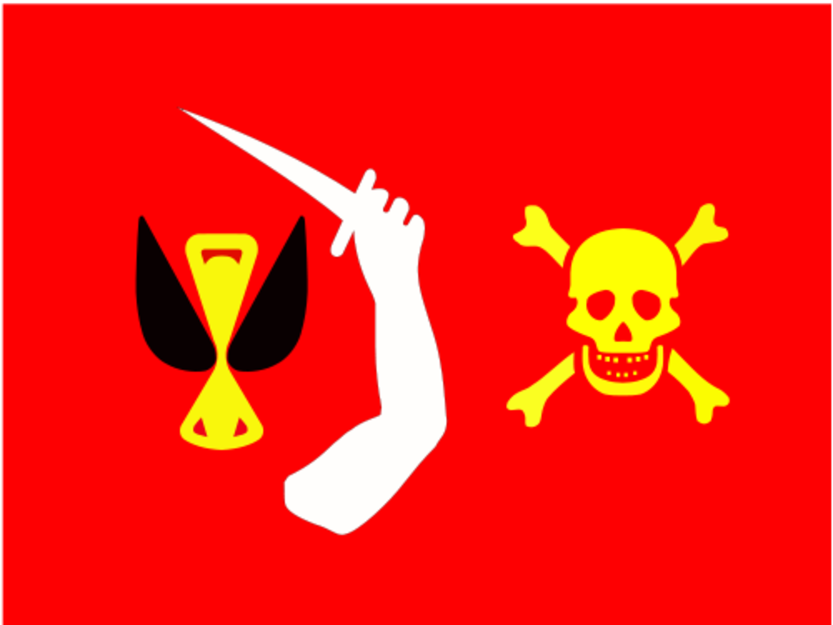 "Christopher Moody's vibrant flag was known as ""The Bloody Red""."