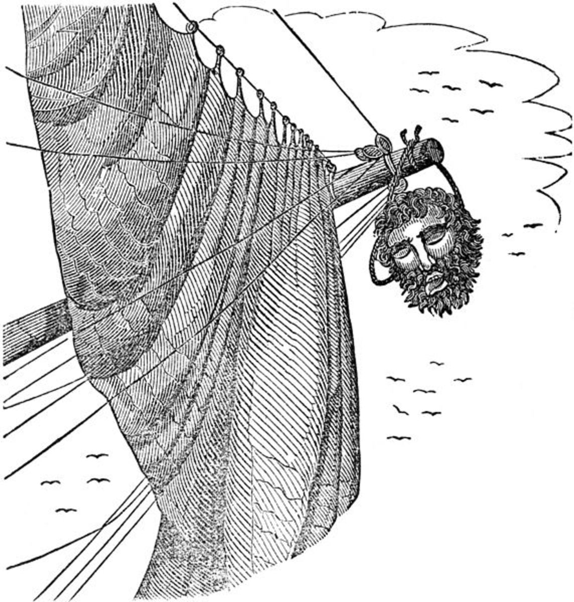 "Blackbeard's head hangs from the bowsprit. Illustration from ""The Pirates Own Book"" by Charles Ellms."