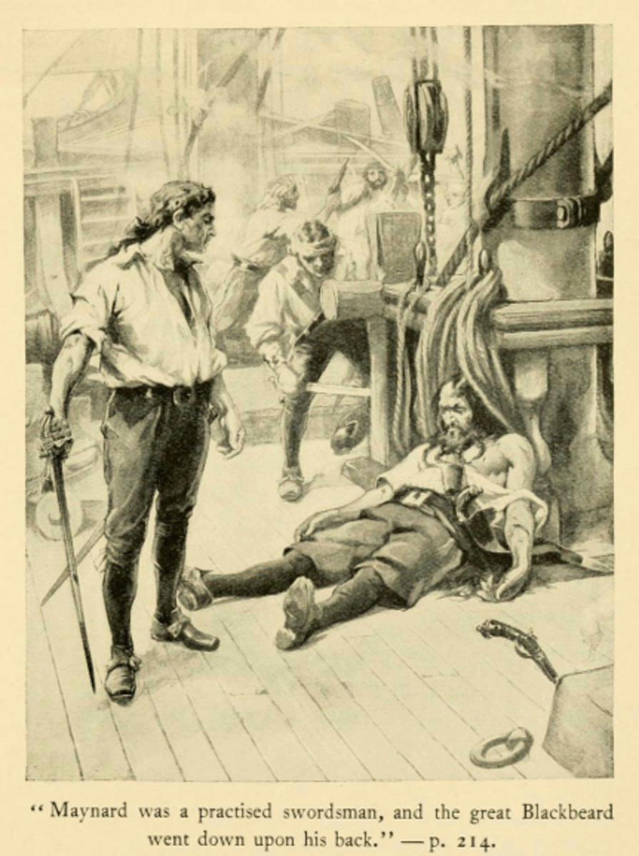 A fanciful account of Maynard's defeat of Blackbeard.