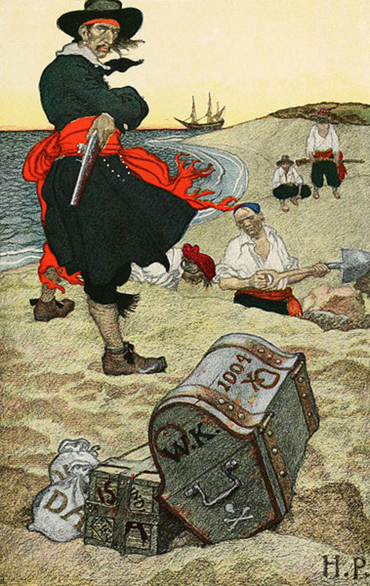 Captain Kidd oversees the burying of his treasure. This is the only known instance of a pirate burying his treasure.