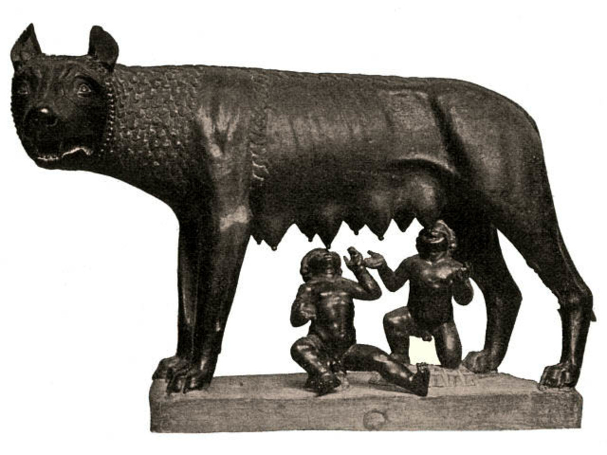 The legendary founders of Rome, Romulus and Remus suckling from the Capitoline she-wolf.