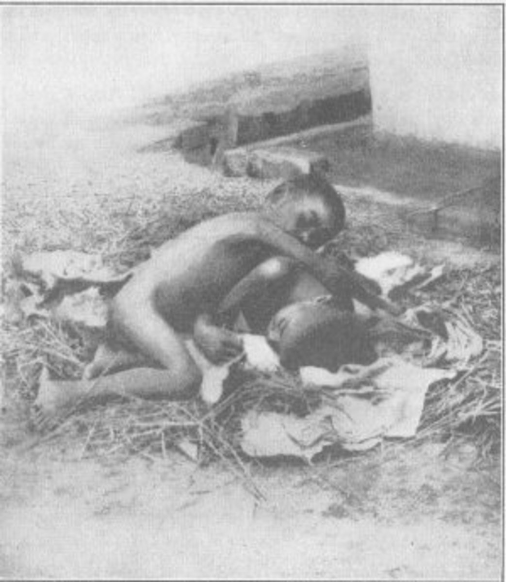 A picture of Kamala and Amala in a wolf den taken by the Reverend Joseph Singh. For a long time, it was thought that the girls had genuinely been raised by wolves, but it was later revealed to be an elaborate hoax initiated by Singh himself.