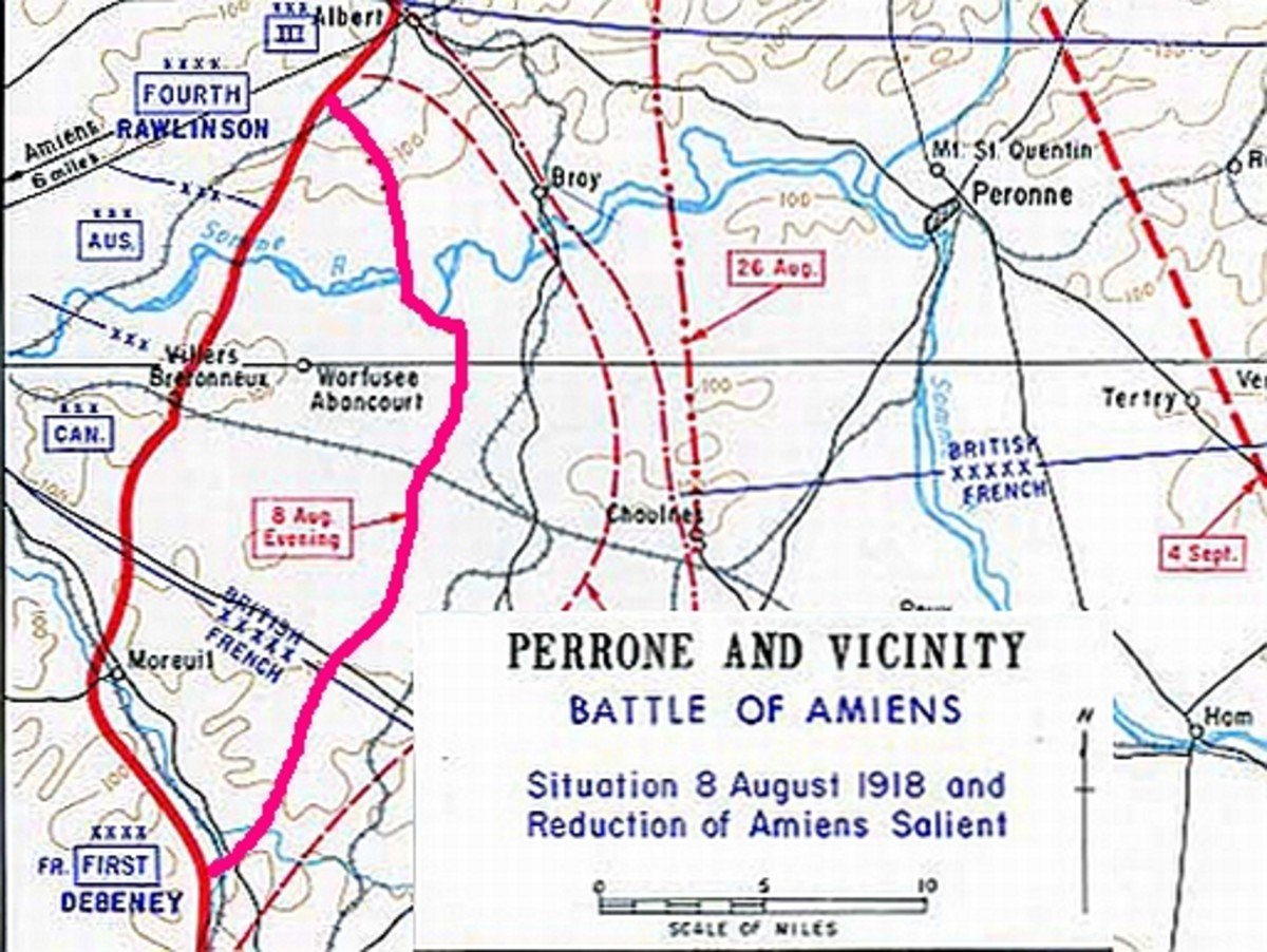 World War One: First Day of Battle of Amiens, August 8, 1914.