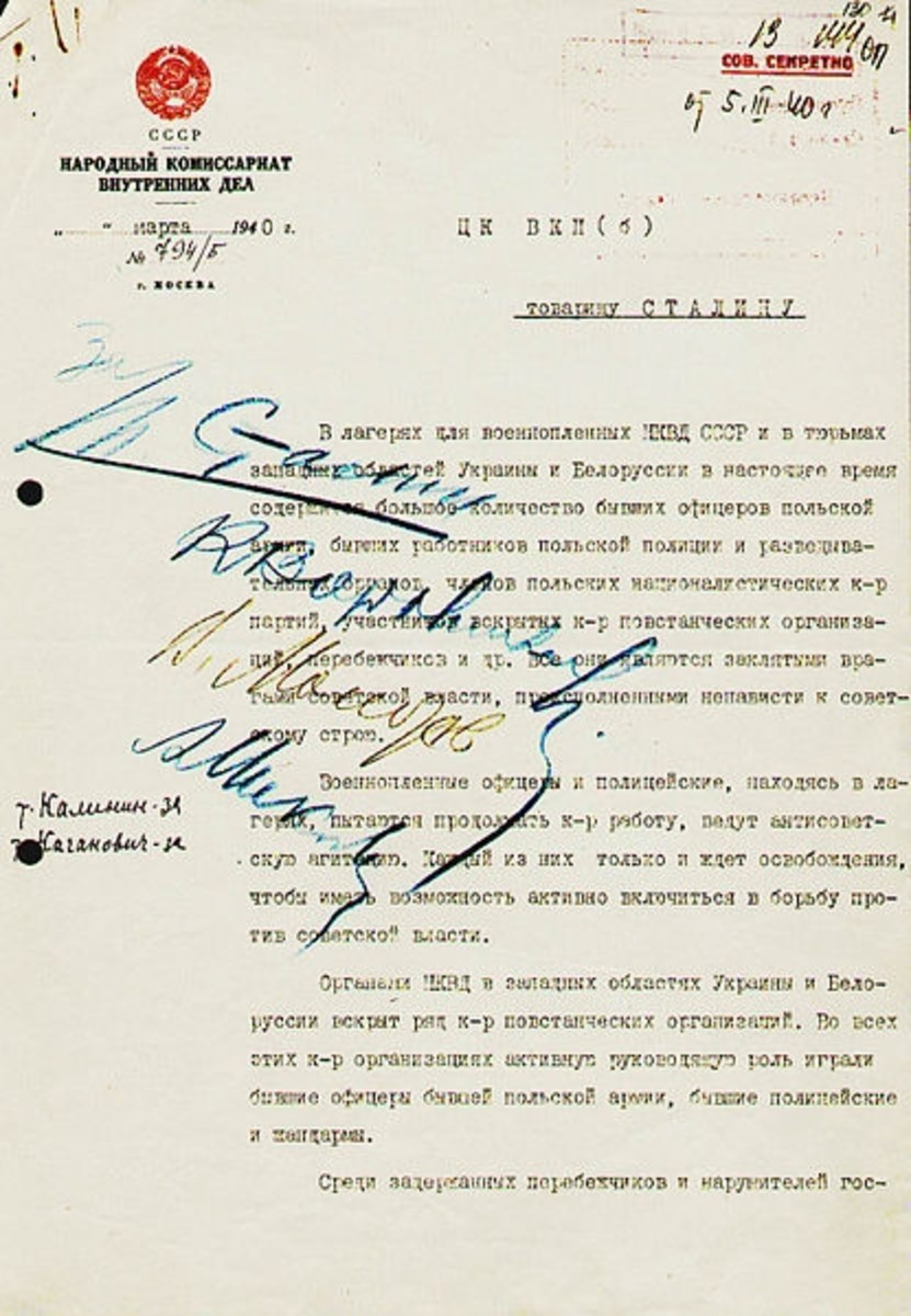 WW2: First page of Memo from Beria to Stalin, proposing execution of Polish officers. March 5, 1940.