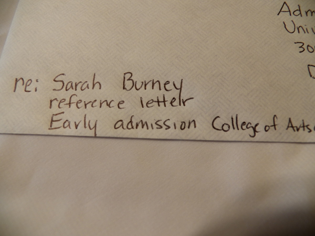 Left corner of College Recommendation Envelope is addressed  Re: name of student, reference letter and any special program