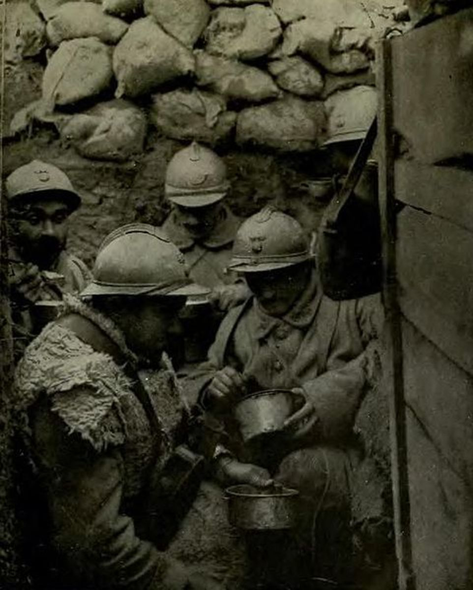 French troops in WWI.  Life was grim and in a confined space like this, lice were able to spread from man to man.