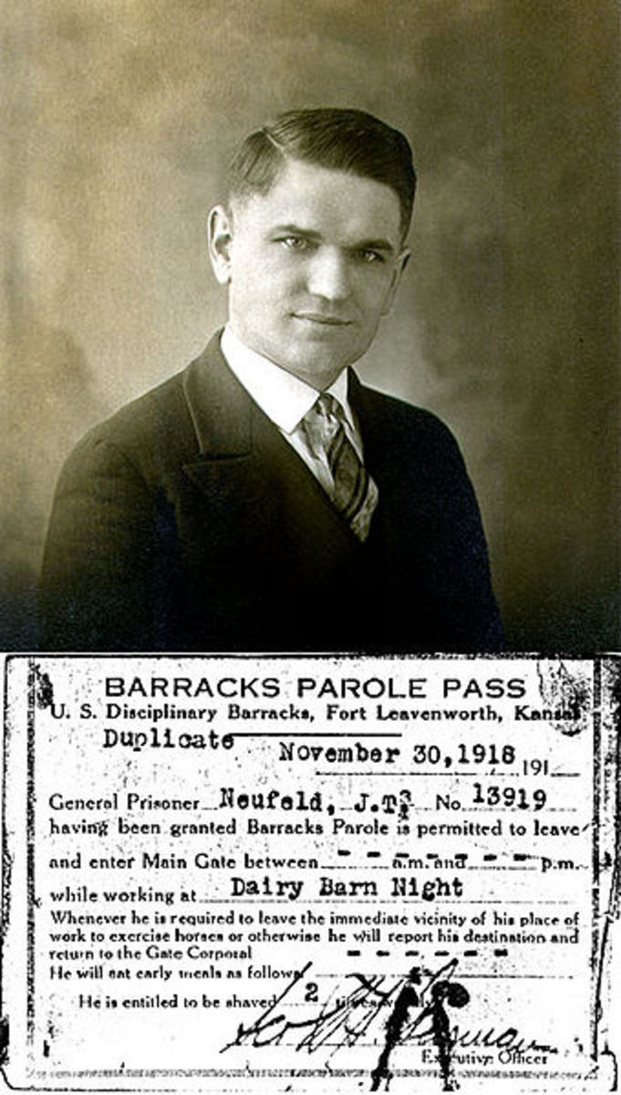 John Neufeld was a Mennonite conscientious objector.  He is shown with his parole pass, allowing him to leave barracks to perform work at a dairy.