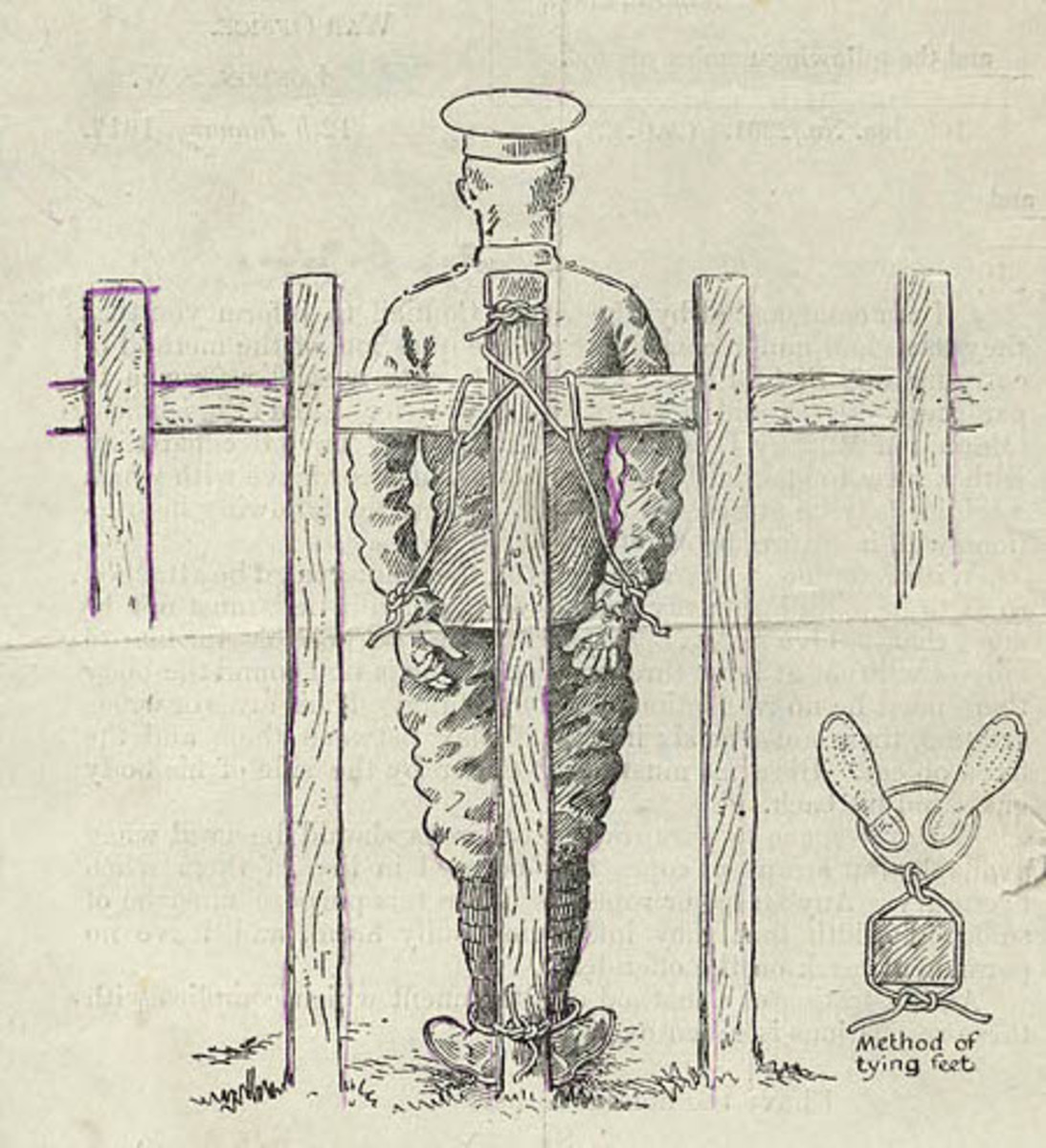 Field Punishment No. 1 replaced flogging in the British Army.  It was used for those who disobeyed orders on active service.  Some conscientious objectors sent to France were charged and given FP No. 1