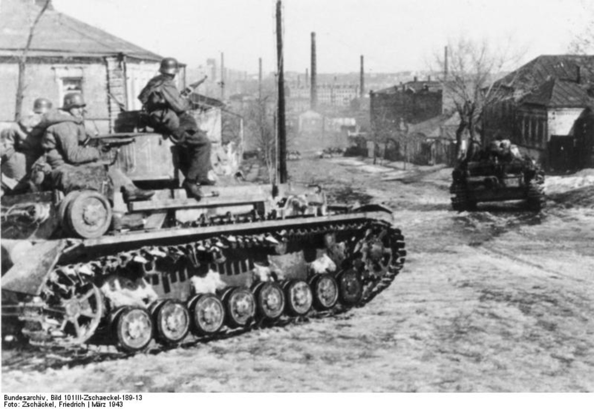 World War Two: German Panzer IV near Kharkov, Ukraine SSR.