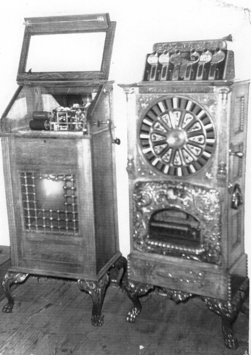 Included among the cargo of the Rising Sun were these to gambling machines.