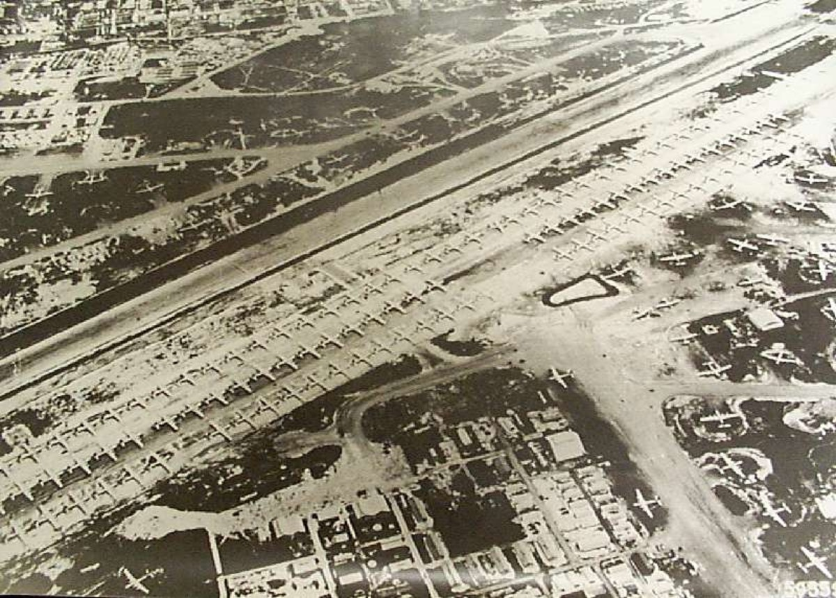 WWII: View of more than 100 B-29 bombers at Isley Field on Saipan mid 1945.