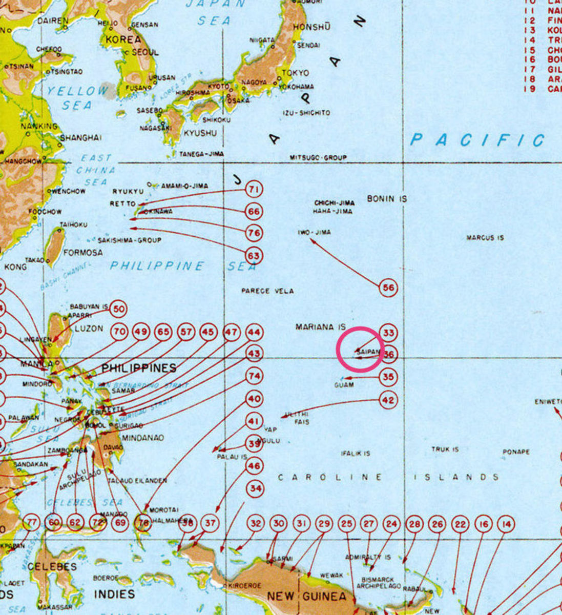 WWII: Map of US landings in the Pacific (Saipan circled)