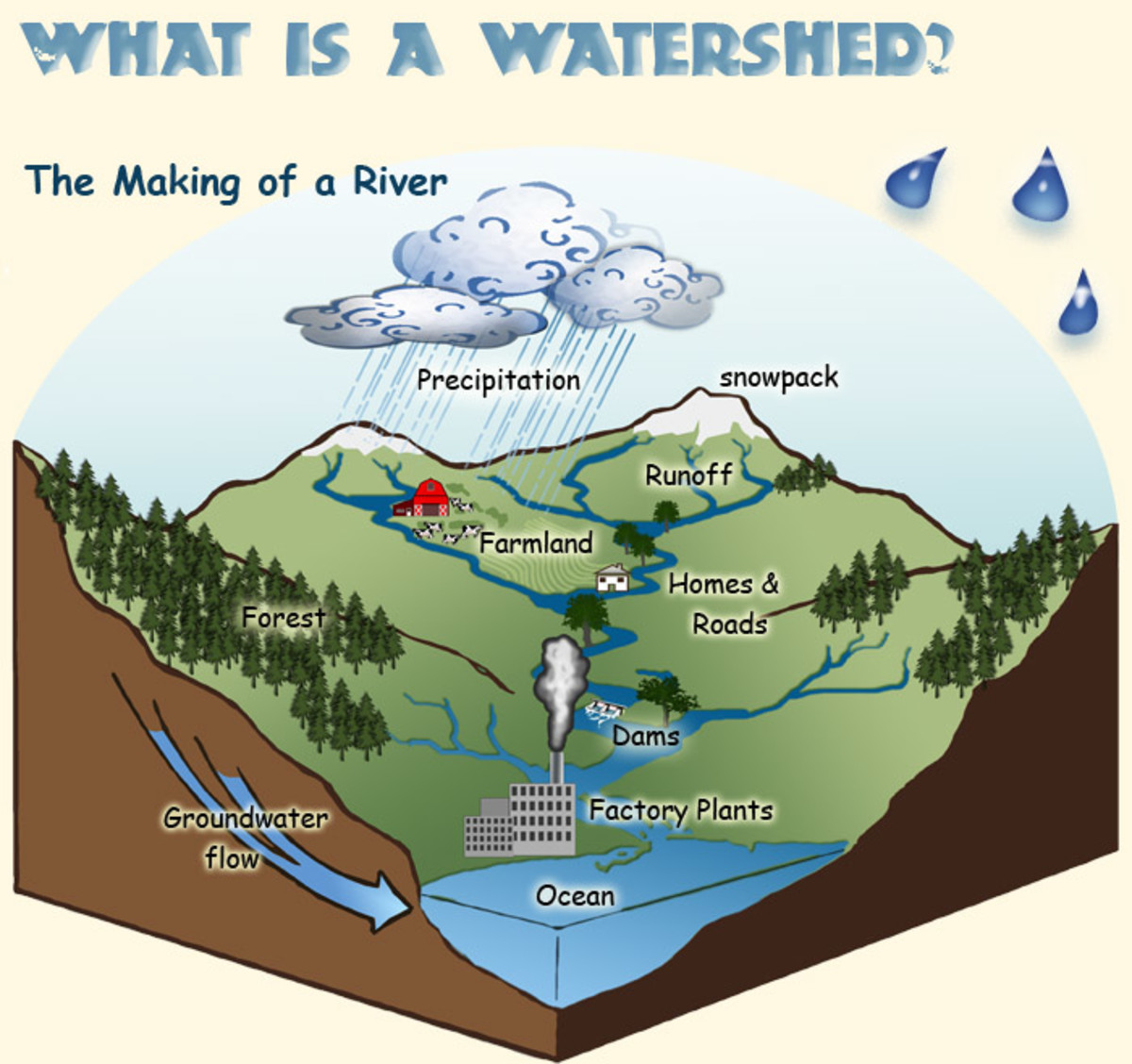 Graph of a simple, functional watershed. Good land use planners should have this memorized, so they know how to preserve the natural flow of water when they allocate land in their area.