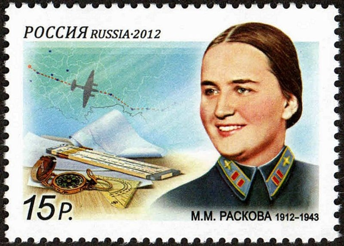 Commemorative stamp on the 100th anniversary of the birth of Hero of Soviet Union Marina Raskova, Russian aviatrix who organized the 3 female air regiments. She died in a crash in 1943. Her ashes are interred in the Kremlin Wall.
