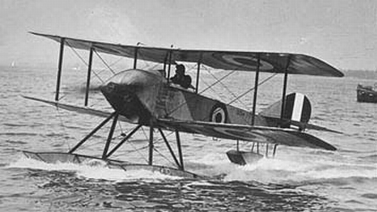 WWI: The British Sopwith Schneider (modified Sopwith Tabloid) at the Schneider Trophy in Monaco, 1914.